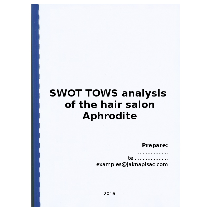 SWOT TOWS analysis of the hair salon Aphrodite - example