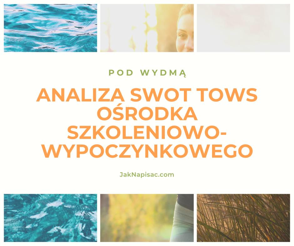 """Analiza SWOT TOWS Ośrodka Szkoleniowo-Wypoczynkowego """"Pod Wydmą"""""""